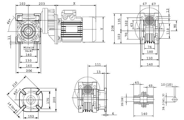 Чертежи мотор-редуктора PCRV 080/090