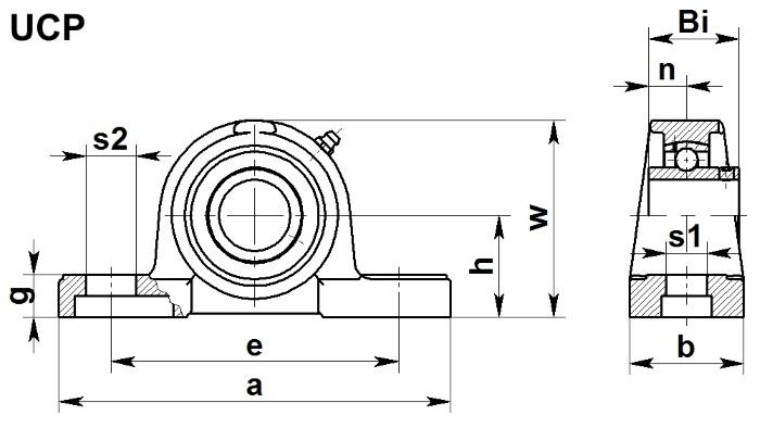 Размеры подшипникового узла UCP