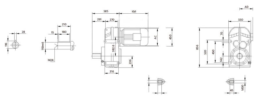 Чертеж мотор-редуктора F127 (лапы)