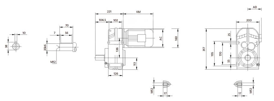 Чертеж мотор-редуктора F57