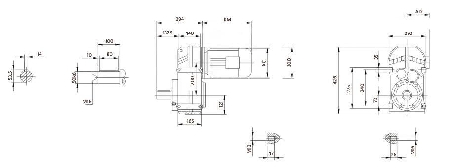 Чертеж мотор-редуктора F77