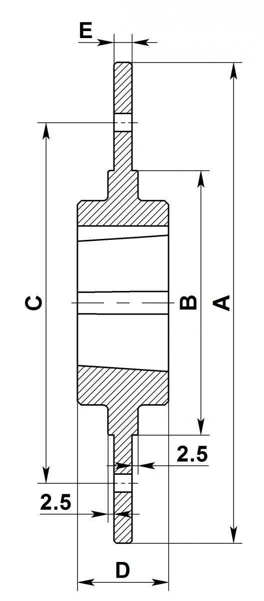 Габаритный чертеж ступиц под болты