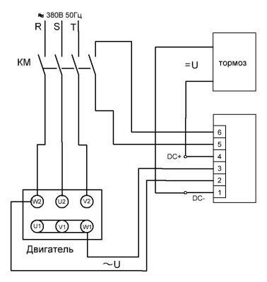 Управление тормозом электродвигателя по постоянному току