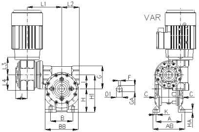 Габаритные и присоединительные размеры VAR